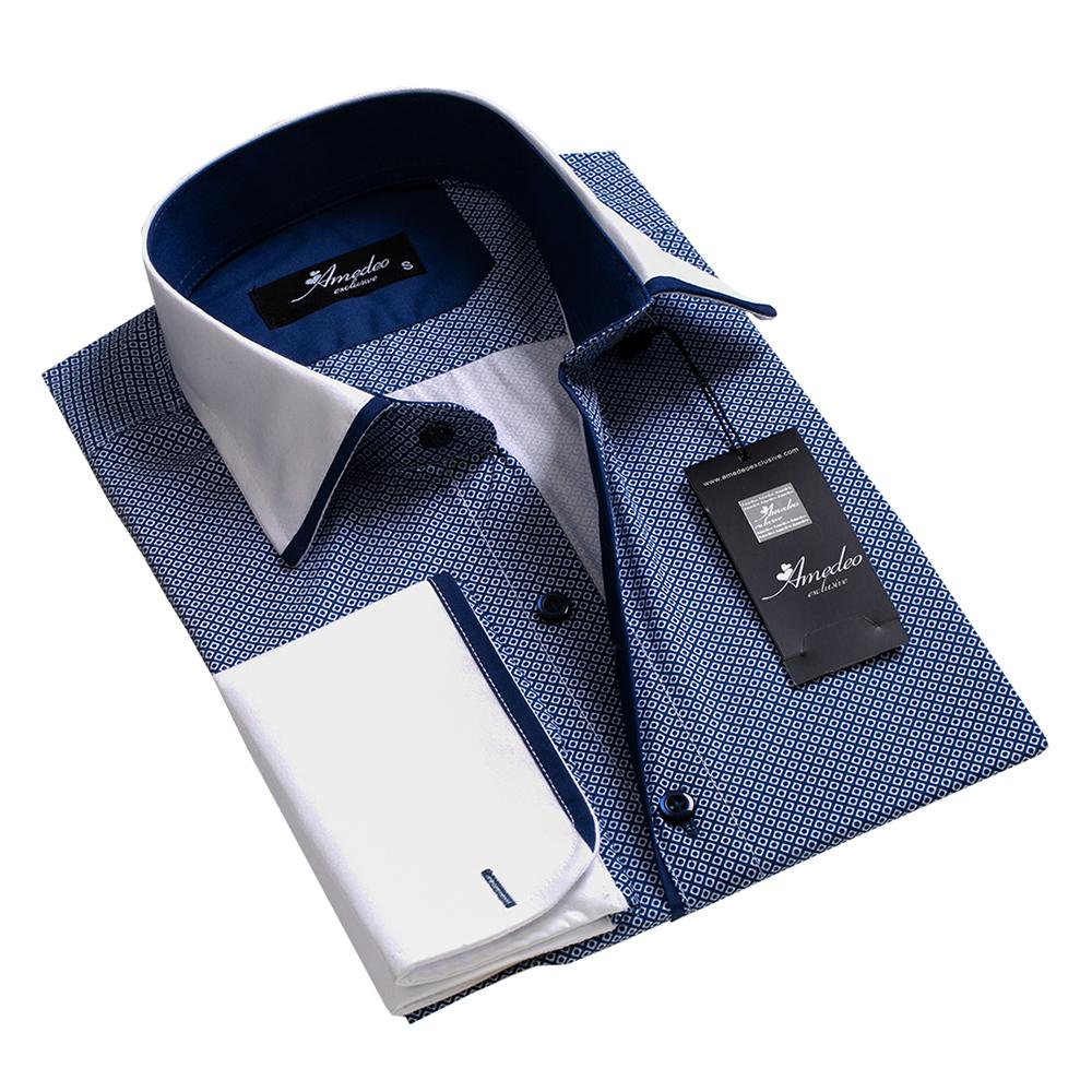 Men's Reversible Blue Squares with White Design French Cuff Dress Shirts