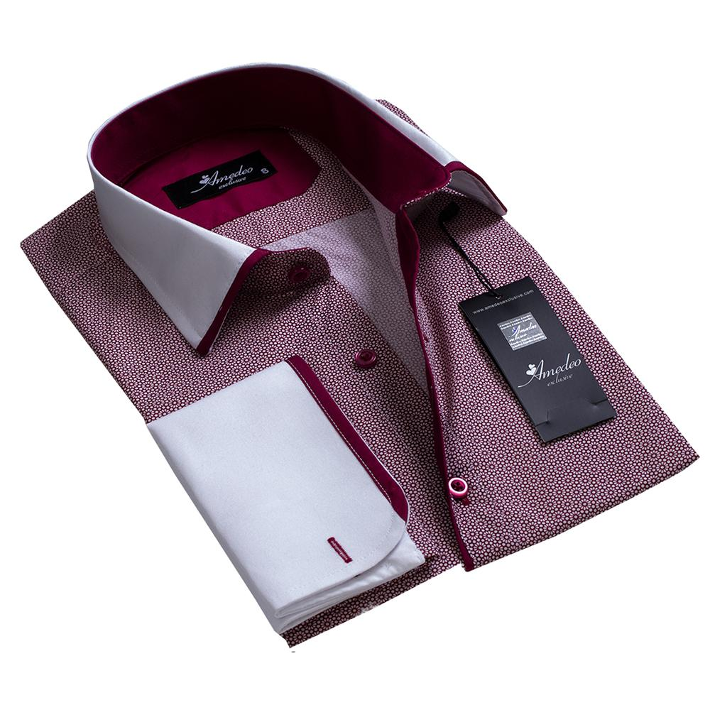 Burgandy and White Design Men's Reversible Dress Shirt, Button Down Slim Fit with French Cuff Casual and Formal