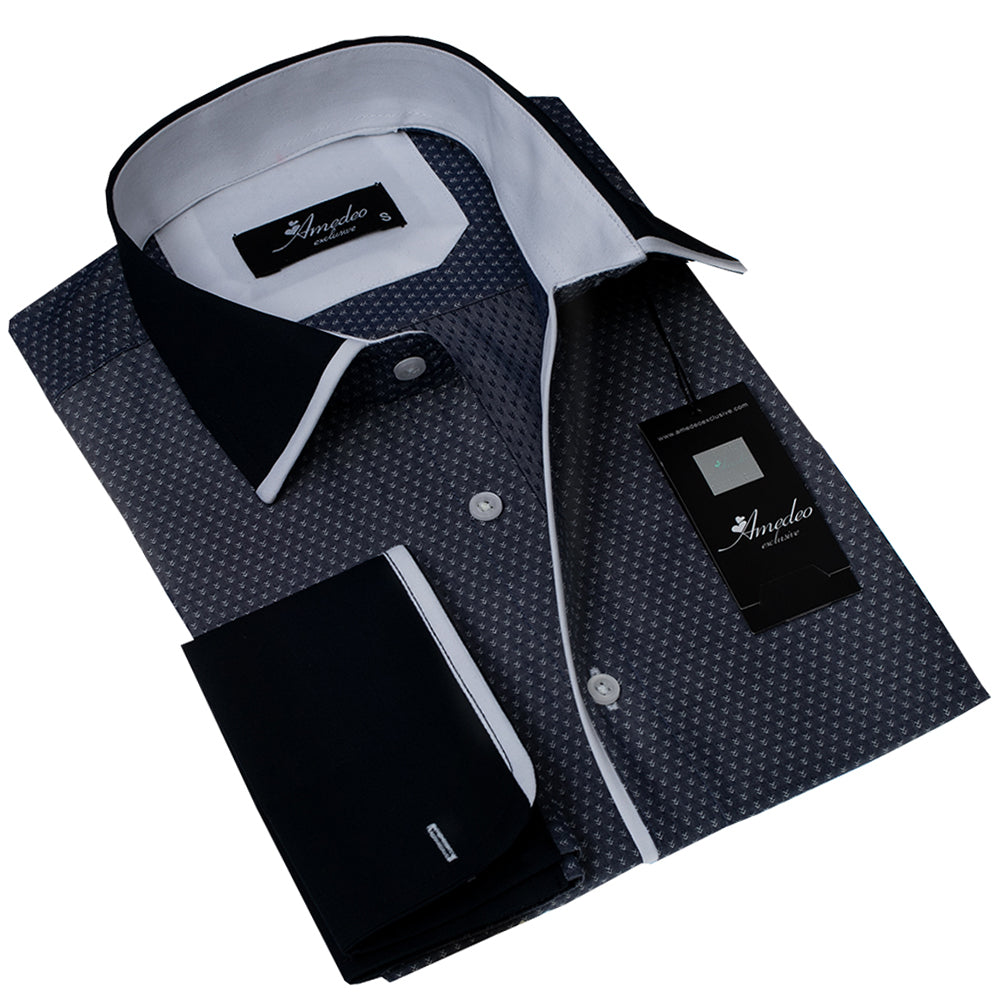 Charcoil Black and Solid Black Design Men's Reversible Dress Shirt, Button Down Slim Fit with French Cuff Casual and Formal