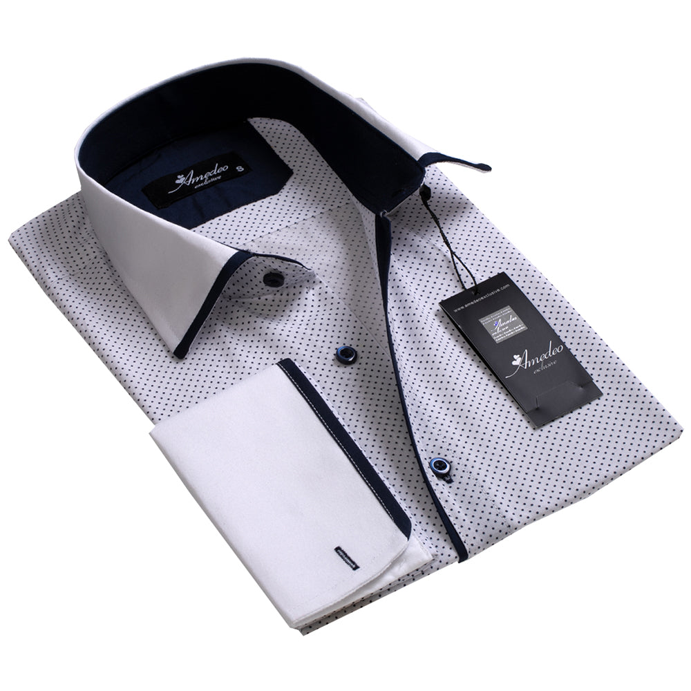 White with Navy Dots Design Men's Reversible Dress Shirt, Button Down Slim Fit with French Cuff Casual and Formal - Amedeo Exclusive