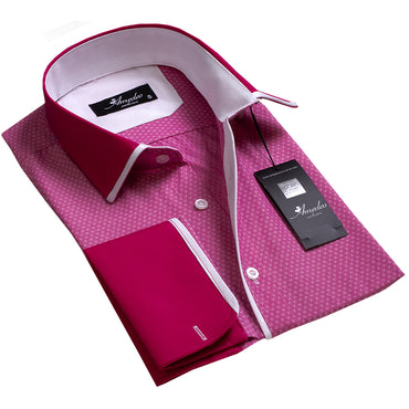 Light Red with Dark Red Design Men's Reversible Dress Shirt, Button Down Slim Fit with French Cuff Casual and Formal