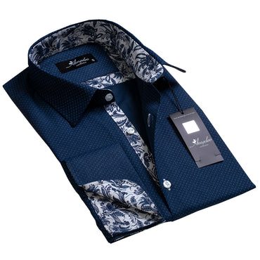 Light Navy Blue Floral Design Men's Reversible Dress Shirt, Button Down Slim Fit with French Cuff Casual and Formal