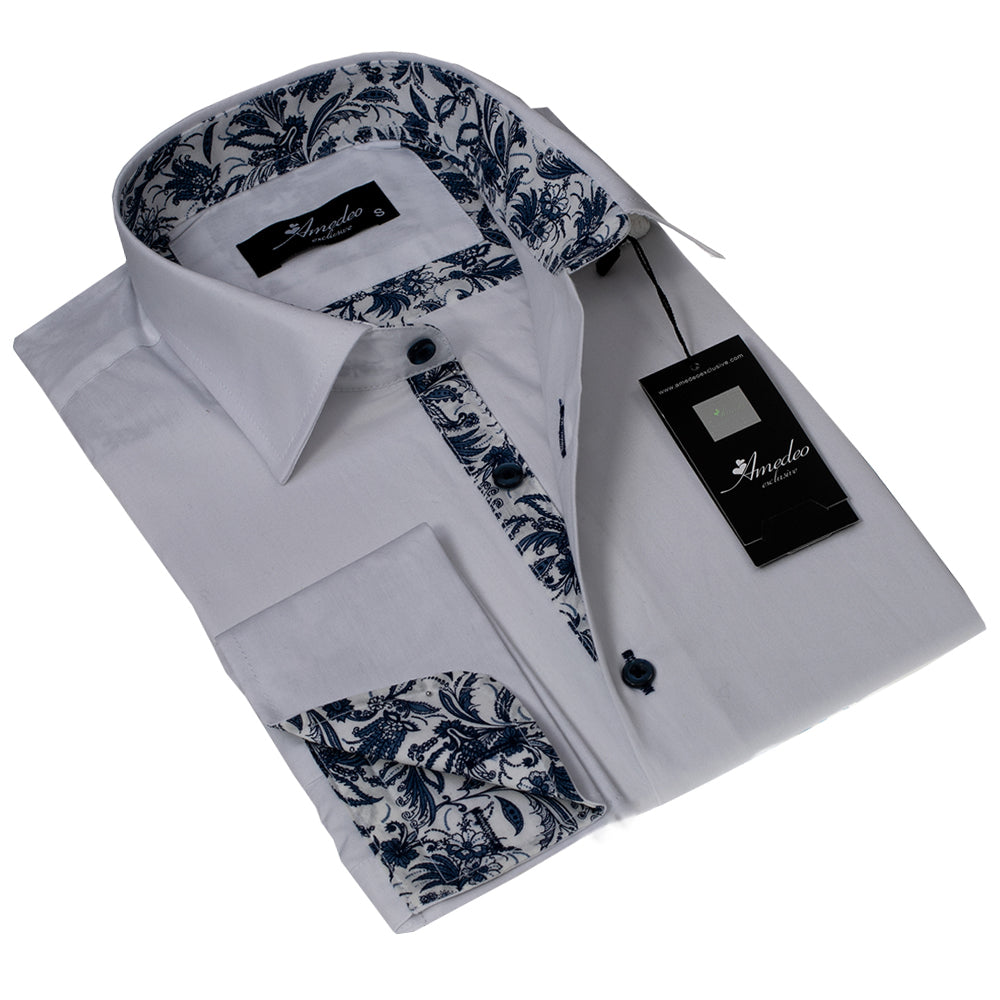 White Floral Design Men's Reversible Dress Shirt, Button Down Slim Fit with French Cuff Casual and Formal - Amedeo Exclusive