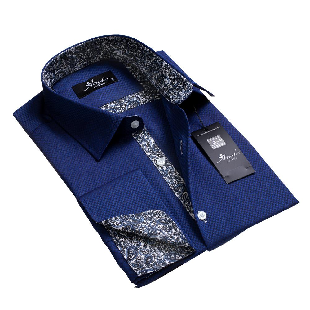 Blue Black Squares Paisley Design Men's Reversible Dress Shirt, Button Down Slim Fit with French Cuff Casual and Formal - Amedeo Exclusive