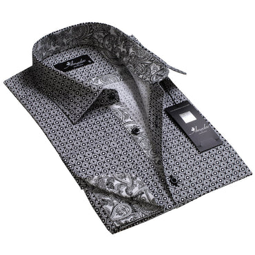 Grey with White Black Paisley Design Men's Reversible Dress Shirt, Button Down Slim Fit with French Cuff Casual and Formal