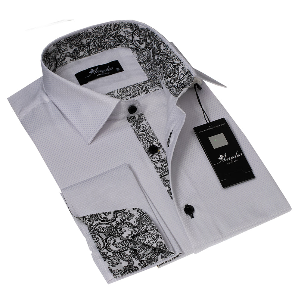 Men's Button Down White with White Black Paisley Design French Cuff Shirts