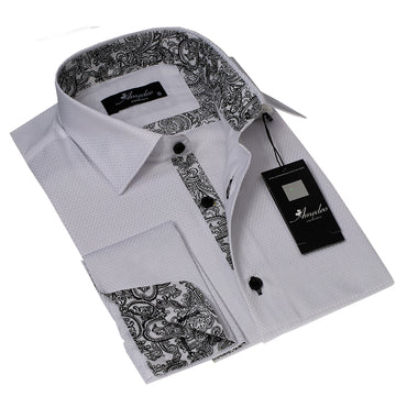 White with White Black Paisley Design Men's Reversible Dress Shirt, Button Down Slim Fit with French Cuff Casual and Formal