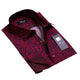 Men's Reversible Navy Blue Red Design French Cuff Dress Shirts