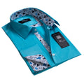 Turquoise Solid Blue Men's Reversible Dress Shirt, Button Down Slim Fit with French Cuff Casual and Formal - Amedeo Exclusive