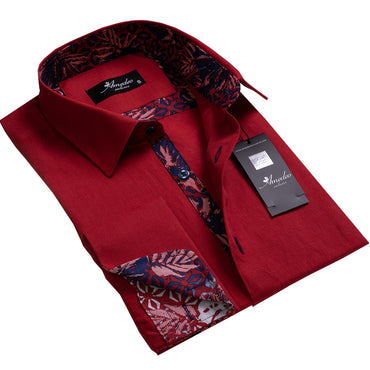 Burgundy Floral Design Men's Reversible Dress Shirt, Button Down Slim Fit with French Cuff Casual and Formal