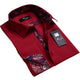 Amedeo Exclusive Men's Burgandy Floral Design French Cuff Dress Shirts