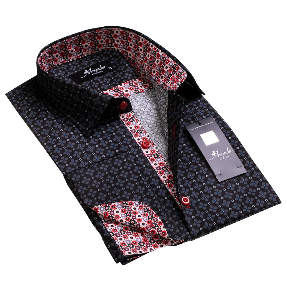 Black With Red Designs Men's French Cuff Dress Shirt, Button Down Slim Fit  Casual and Formal