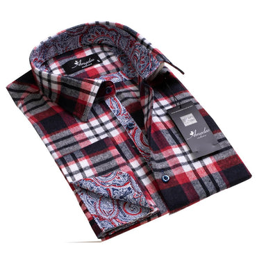 Black White And Red Nova Plaid Paisley Design Men's Reversible Dress Shirt, Button Down Slim Fit with French Cuff Casual and Formal
