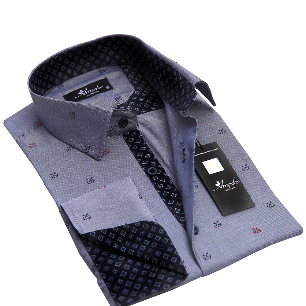 Grey With Checkers Mens Slim Fit French Cuff Dress Shirts with Cufflink Holes - Casual and Formal - Amedeo Exclusive