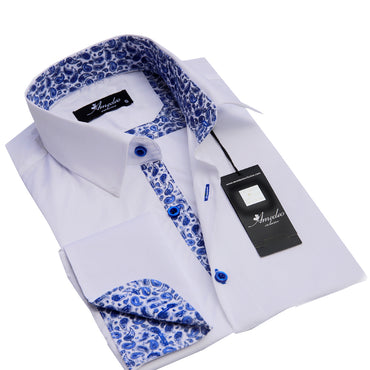 White And Blue Paisley Mens Slim Fit Designer Dress Shirt - tailored Cotton Shirts for Work and Casual Wear - Amedeo Exclusive