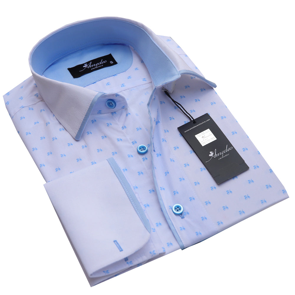 Men's Reversible White with Light Blue French Cuff Dress Shirts