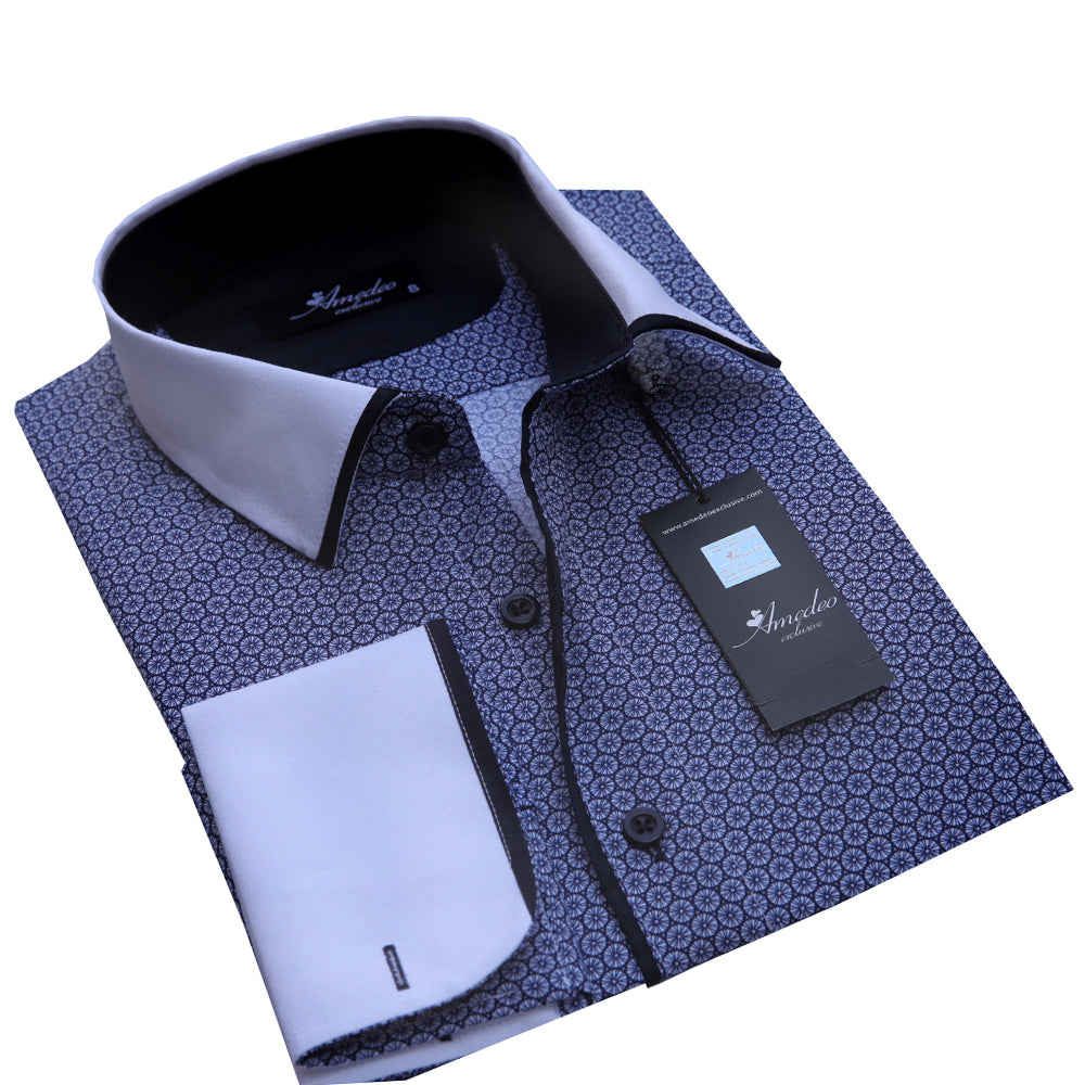9a033b8c0bd0 Men's Reversible Dark Blue French Cuff Dress Shirts – Amedeo Exclusive