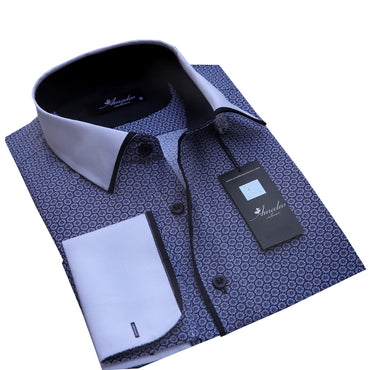 Dark Blue Design Men's Reversible Dress Shirt, Button Down Slim Fit with French Cuff Casual and Formal - Amedeo Exclusive