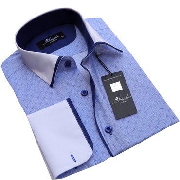 Light Blue Design Men's Reversible Dress Shirt, Button Down Slim Fit with French Cuff Casual and Formal - Amedeo Exclusive
