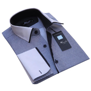 Men's Reversible Button Down Black and White French Cuff Shirts