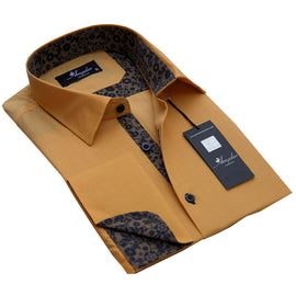 Men's Reversible Button Down Solid Tan with Brown Floral French Cuff Shirts