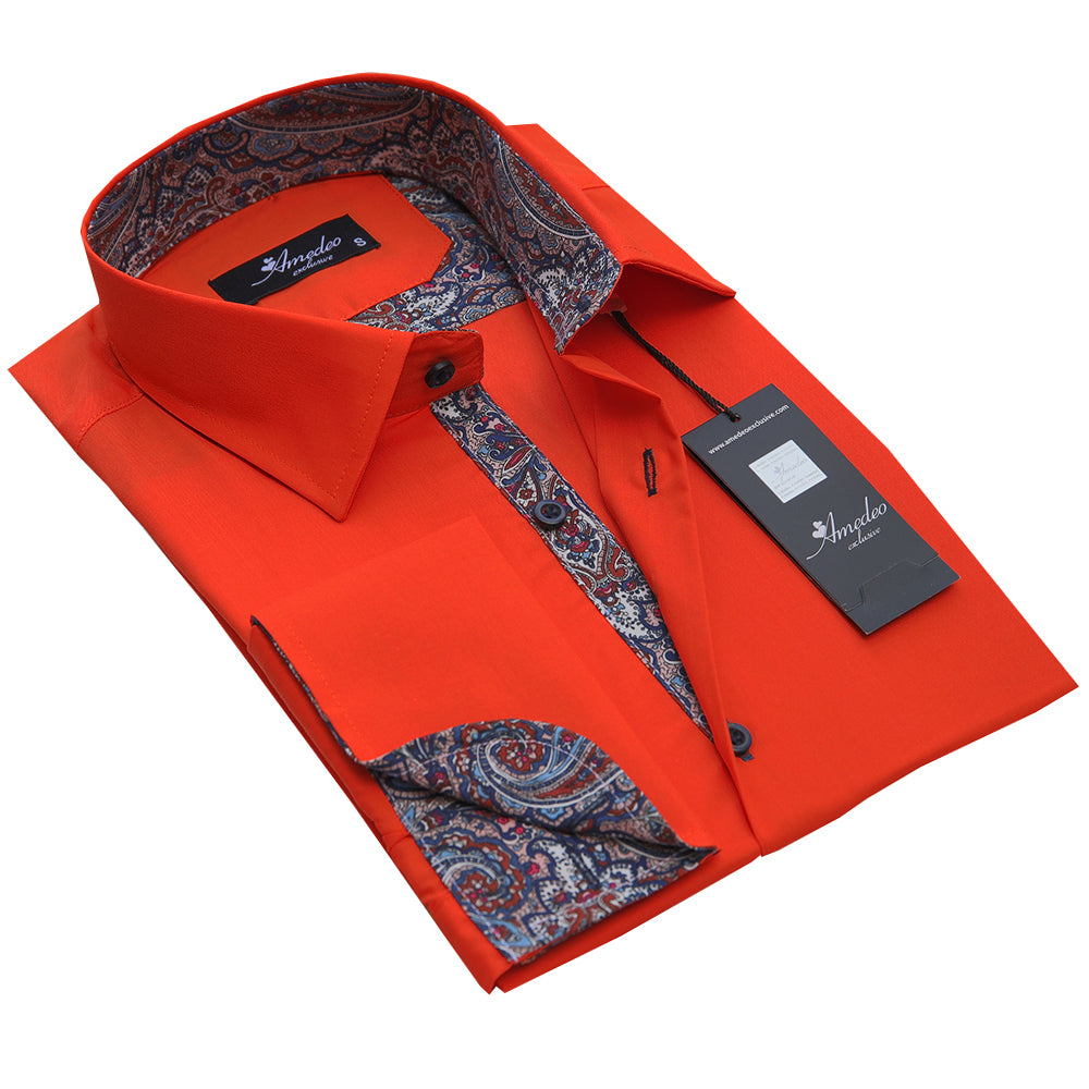 Neon Orange Paisley Men's French Cuff Dress Shirt, Button Down Slim Fit  Casual and Formal - Amedeo Exclusive