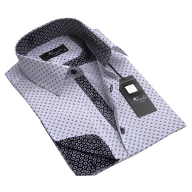 Men's Reversible Button Down White with Grey Circles French Cuff Shirts