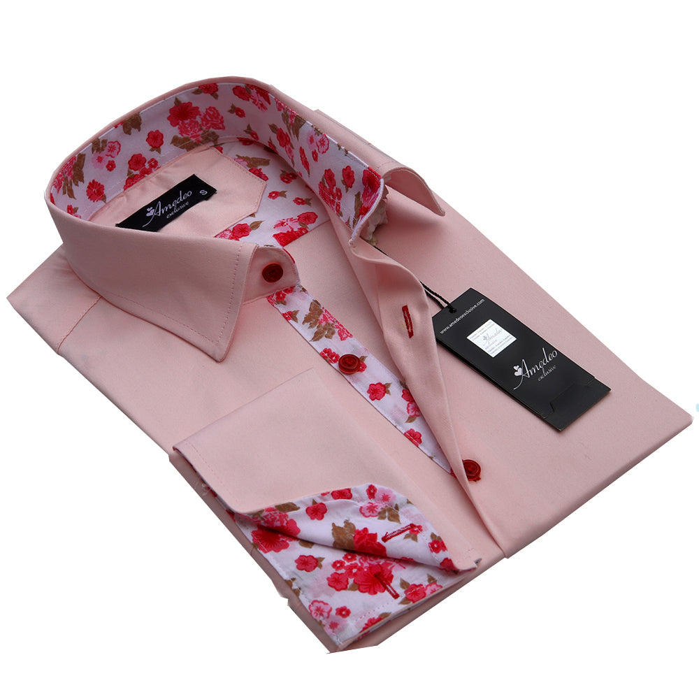 Mens Reversible Button Down Salmon Pink Floral Design French Cuff