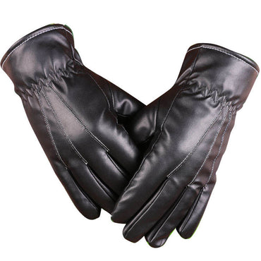 Men's Black Genuine Leather Full Finger Texting Winter Lined Driving Gloves