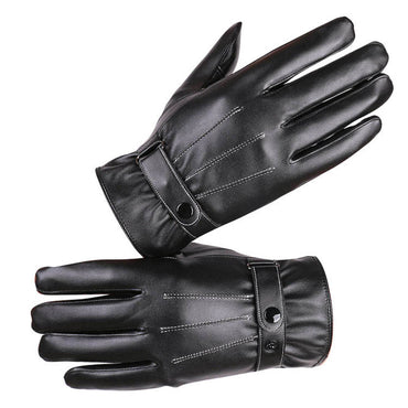 Men's Black PU Leather Mittens Autumn Winter Outdoor Driving Warm Gloves