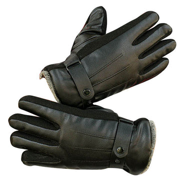 Black Unisex soft PU leather gloves Full Finger Texting Winter Lined Driving Gloves