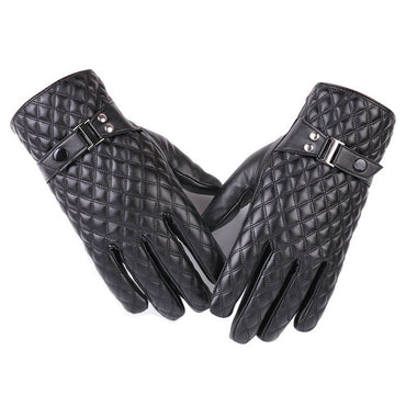 Men's Black Leather Thinsulate Quilted Winter Warm Windproof Motorbike Outdoor Sports Gloves