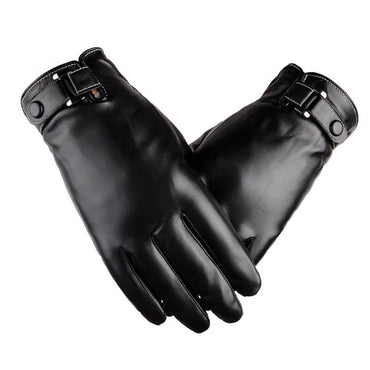 Men's Classic Black Leather Pure Cashmere Lining Winter Warm Driving Mittens Gloves