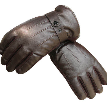 Men's Windproof Bicycle Black Leather Velvet Thickening  Warm Gloves