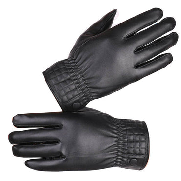Men's Black Leather Windproof Cycling Running Climbing Winter Outdoor Biking Gloves