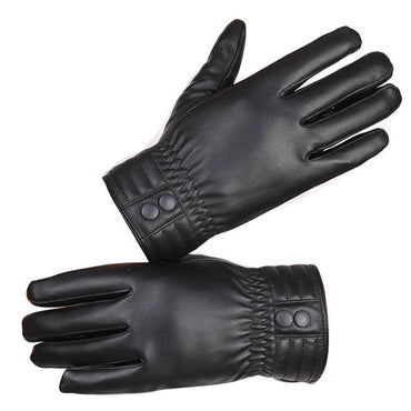 Men's Black Leather Touchscreen Texting Driving Sheepskin Full Finger Gloves