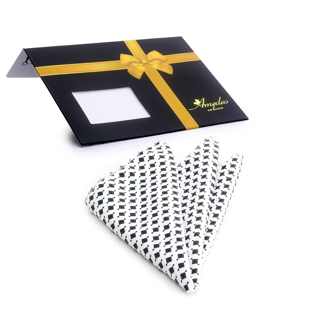 Men's White Black Squares Pocket Square Hanky Handkerchief - Amedeo Exclusive