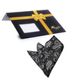 Amedeo Exclusive Jacquard Woven Silk Black Silver Paisley Handkerchief