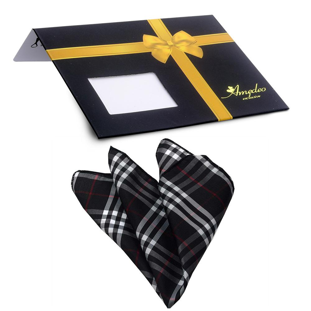 Men's Black White Plaid Pocket Square Hanky Handkerchief - Amedeo Exclusive