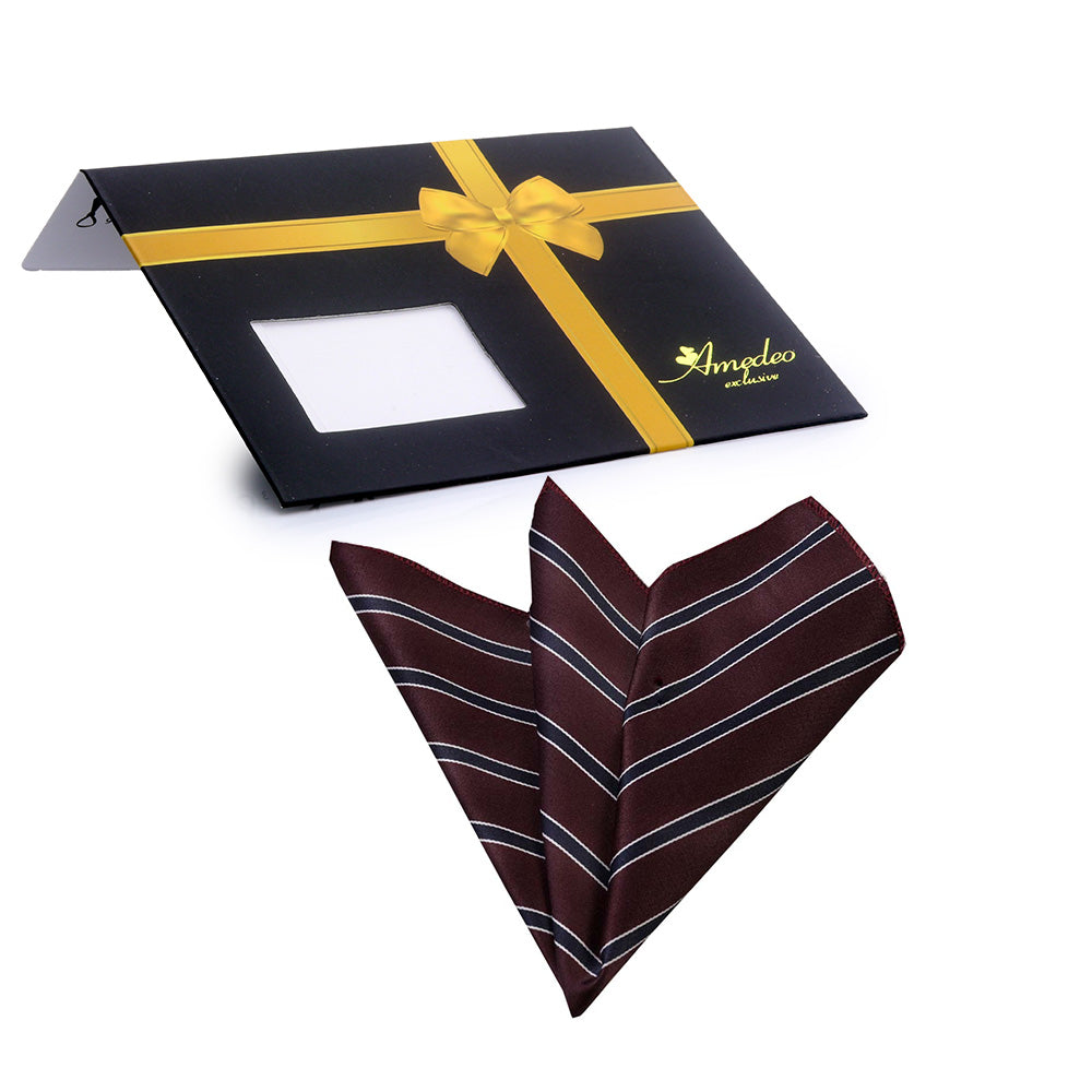 Men's Maroon with white stripes Pocket Square Hanky Handkerchief - Amedeo Exclusive