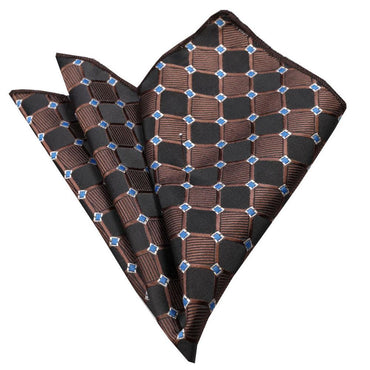 Men's Black Brown Blue Squares Handkerchief