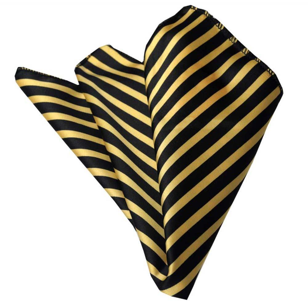 Men's Black Yellow Stripes Pocket Square Hanky Handkerchief - Amedeo Exclusive