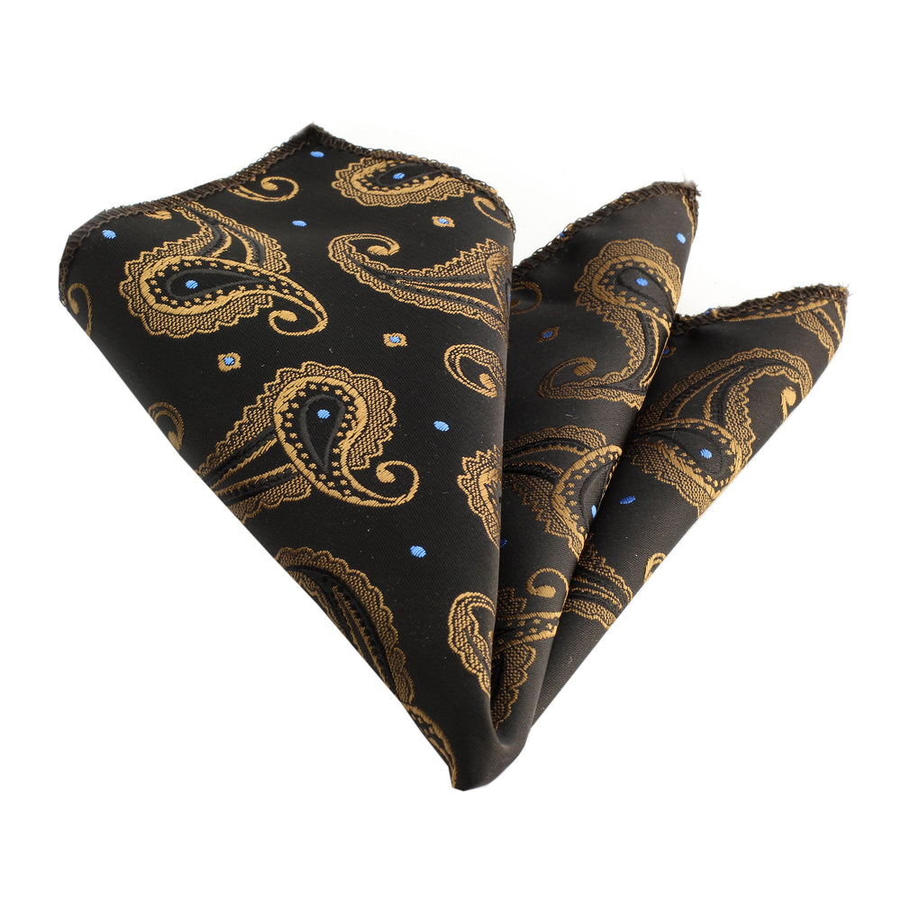 Amedeo Exclusive Jacquard Silk Black Gold Paisley Printed Handkerchief
