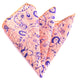 Pocket Salmon & Blue Paisley Hanky Handkerchief - Amedeo Exclusive