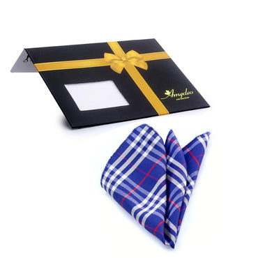 Men's Blue White & Red Plaid Handkerchief