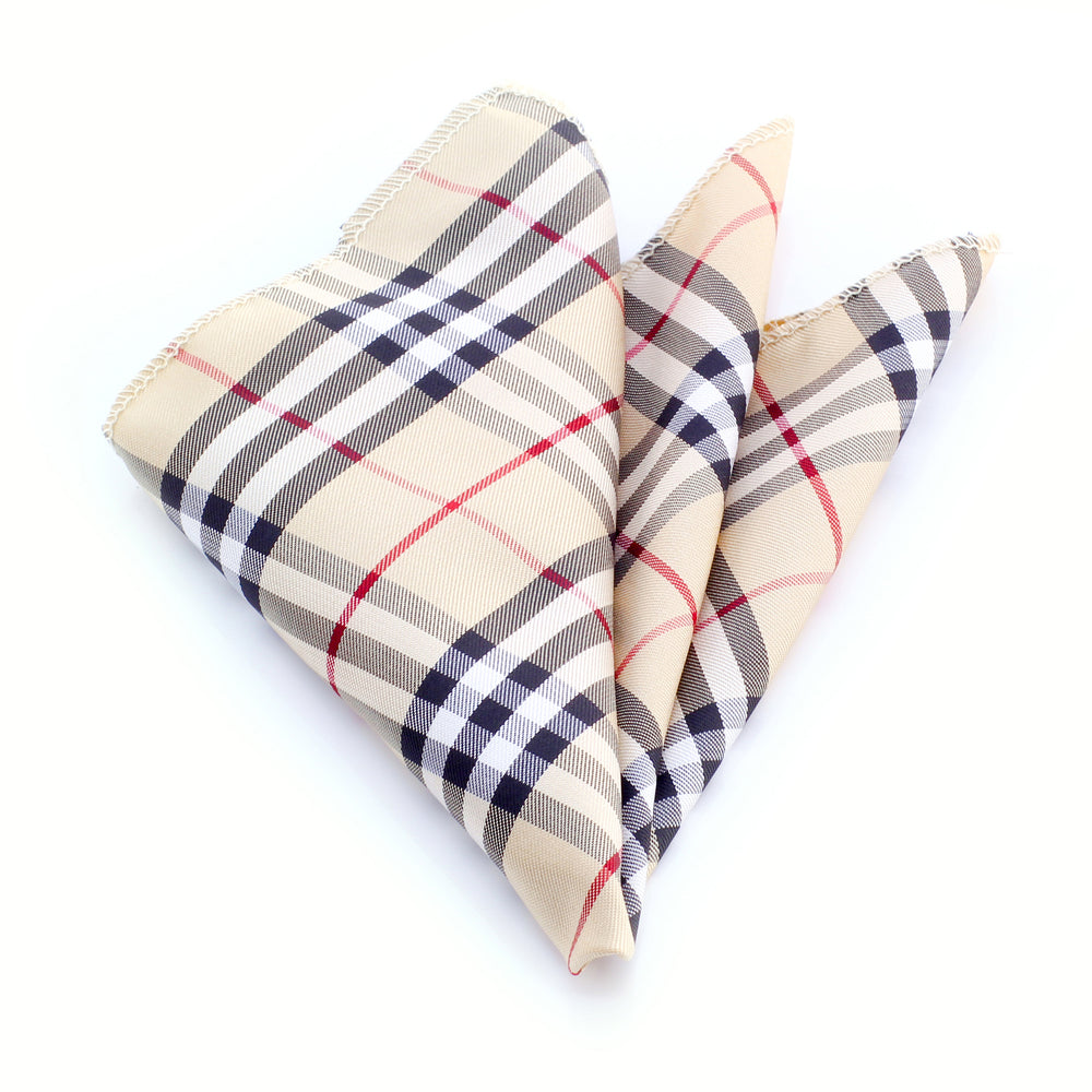 Amedeo Exclusive Jacquard Silk Tan Red and Black Plaid Handkerchief