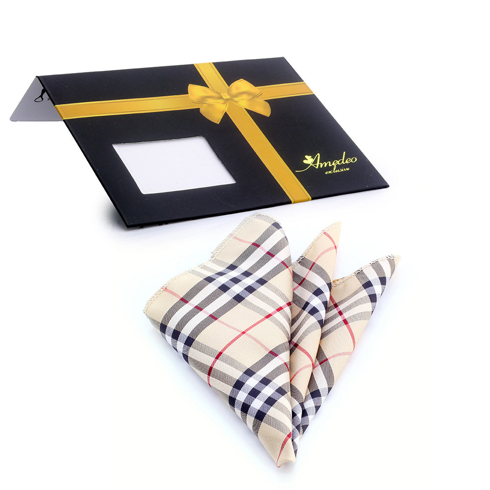 Jacquard Silk Tan Red and Black Plaid Handkerchief