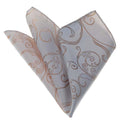 Men's White Gold Paisley Checkered Snowflakes Handkerchief - Amedeo Exclusive