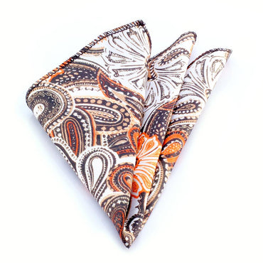 Men's Tan Orange & Brown Paisley Handkerchief