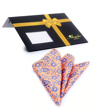 100% Silk Pocket Square Hanky Handkerchief - Orange and Blue Paisley